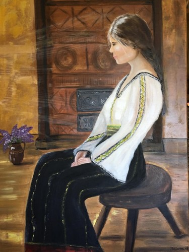 Romanian country girl,(self portrait )